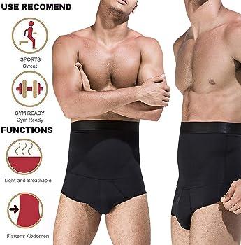 HuntDream Mens Shapewear High Waist Tummy Control Briefs Anti-Curling Slimming Body Shaper