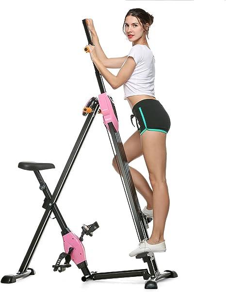 Asatr escalera vertical plegable gimnasio ejercicio máquina de fitness Stepper bicicleta de ejercicio para entrenamiento de cuerpo en casa, Talla única, Rosado: Amazon.es: Deportes y aire libre