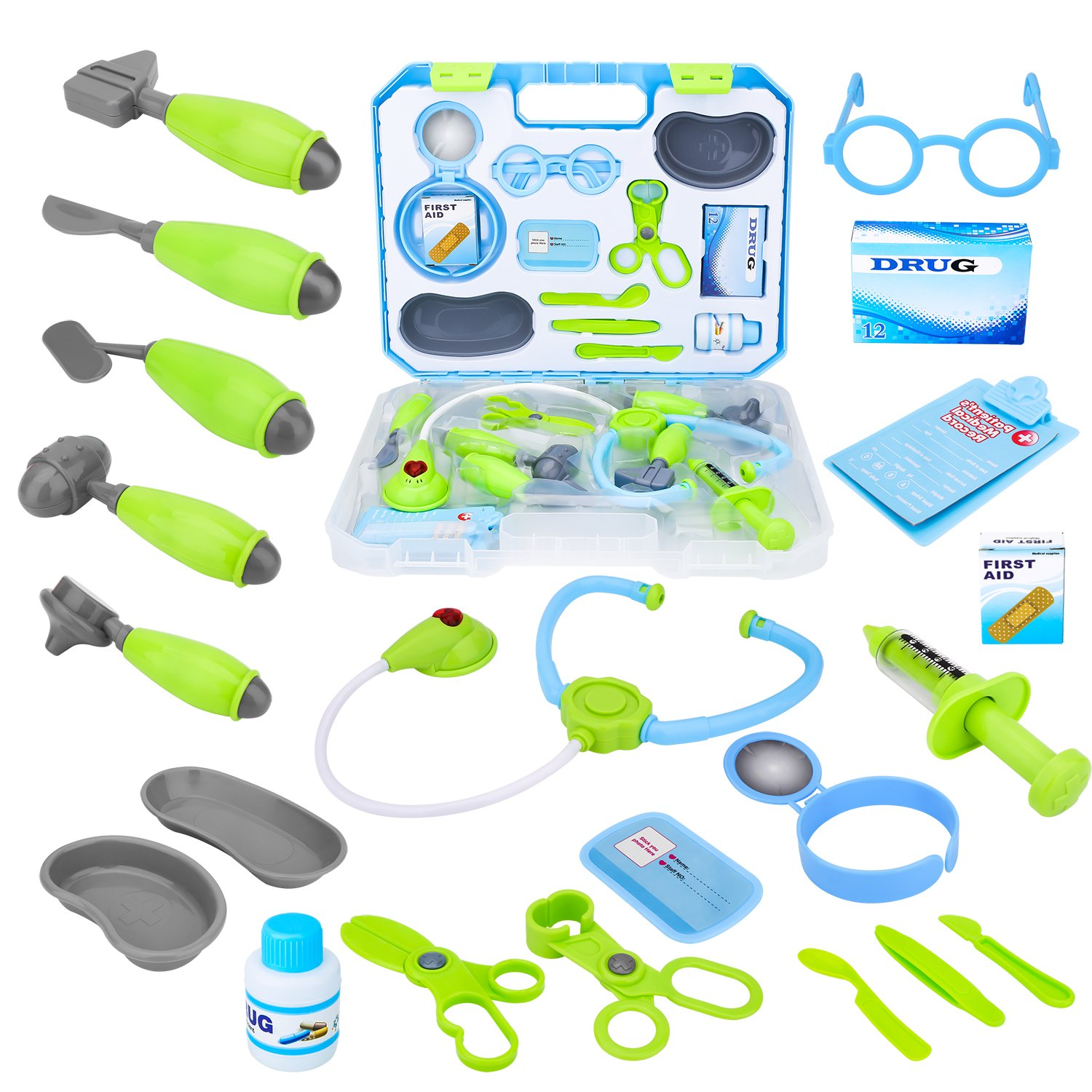 Kids Pretend Play Toy Doctor Kit, Toddler Girls Doctor Play Toy Medical Set in Sturdy Case, Toy Medical kit for Boys