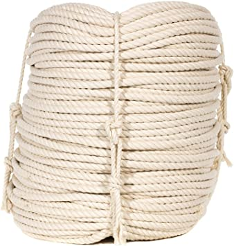3//4 Inch x 25 Feet 100/% Twisted White Natural Cotton Rope Decorations Crafting