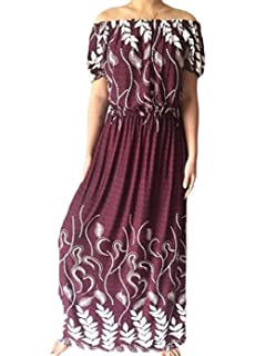 64f502d15e3 Miaohao Women Patterned Short Sleeve Elastic Waist Word Shoulder Maxi Dress