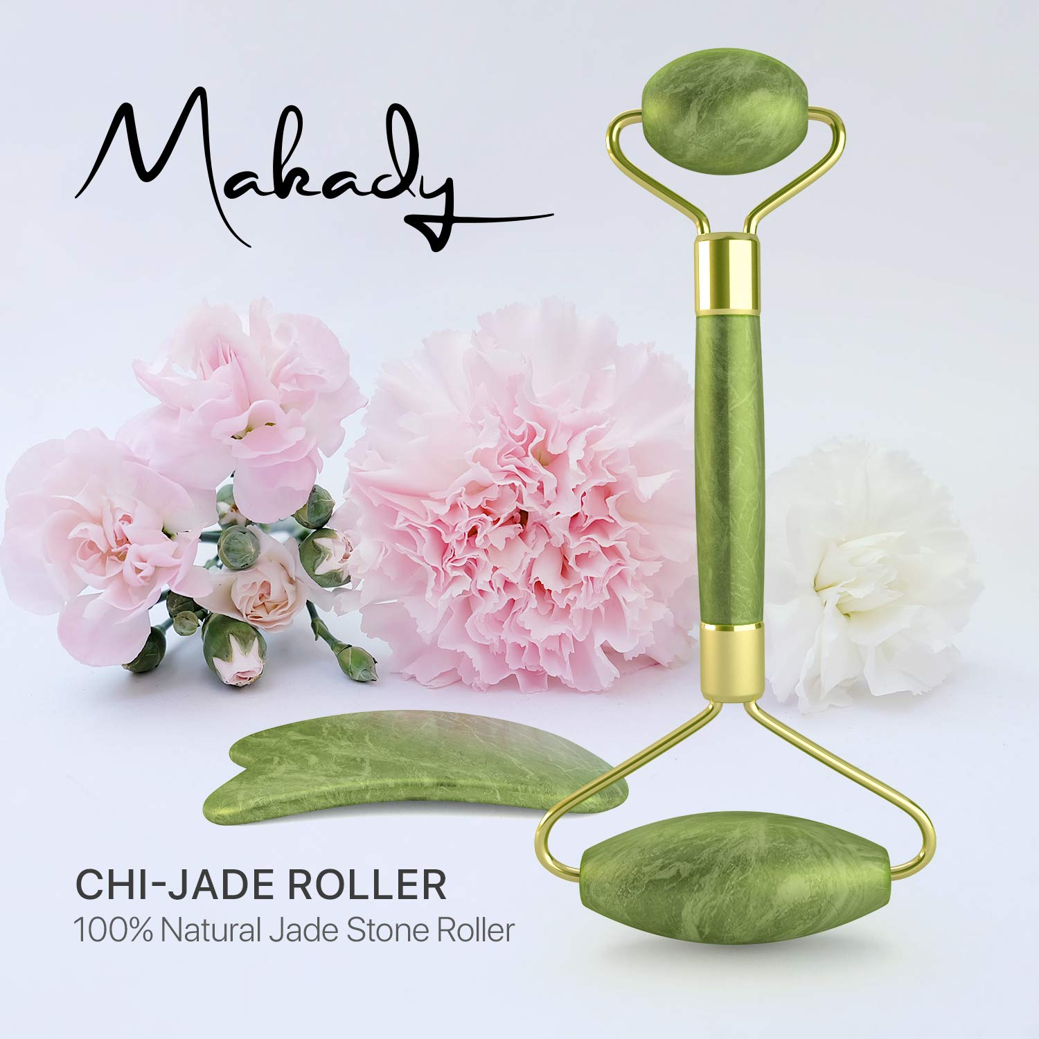 Natural 2 in 1 Jade Roller For Face - Gua Sha Scraping - Aging Wrinkles, Puffiness Facial Skin Massager Treatment Therapy - Premium Authentic Himalayan Jade Stone - Include Bag by MAKADY (Image #2)