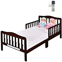 Costway Baby Toddler Wooden Bed w/ Safety Rails