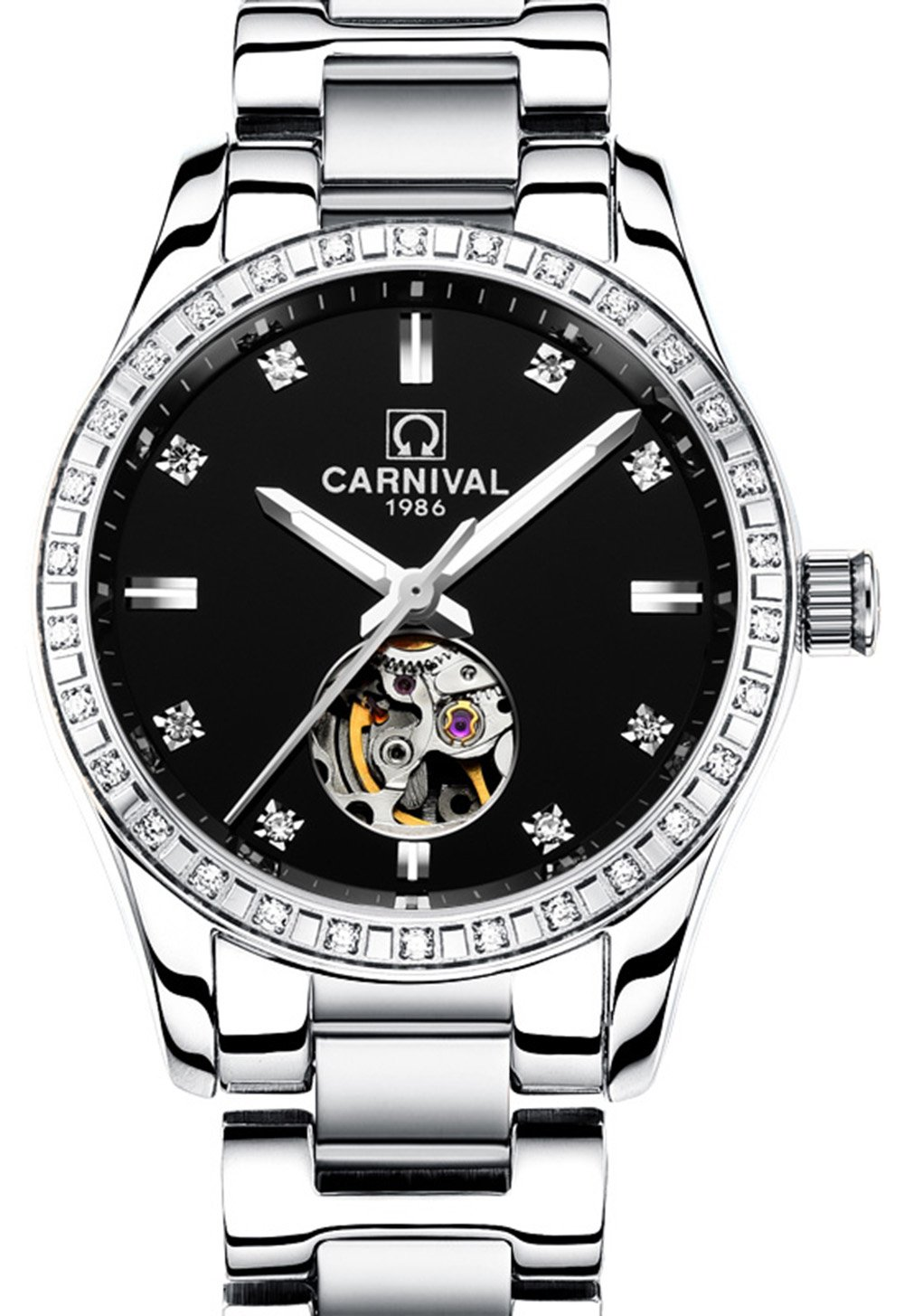 Women Automatic Mechanical Watch Rose Gold Silver Stainless Steel Skeleton Dial Waterproof Watches (silver black)
