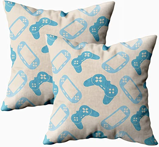 MMSD Sofa Pillow Covers, 2 Packs Hidden Zippered 18X18Inch Background Game Your Decorative Throw Cotton Pillow Case Cushion Cover for Home Decor,Blue Grey: Amazon.es: Hogar