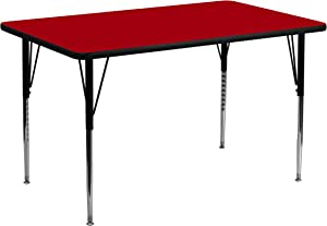 Flash Furniture 24''W x 48''L Rectangular Red Thermal Laminate Activity Table - Standard Height Adjustable Legs