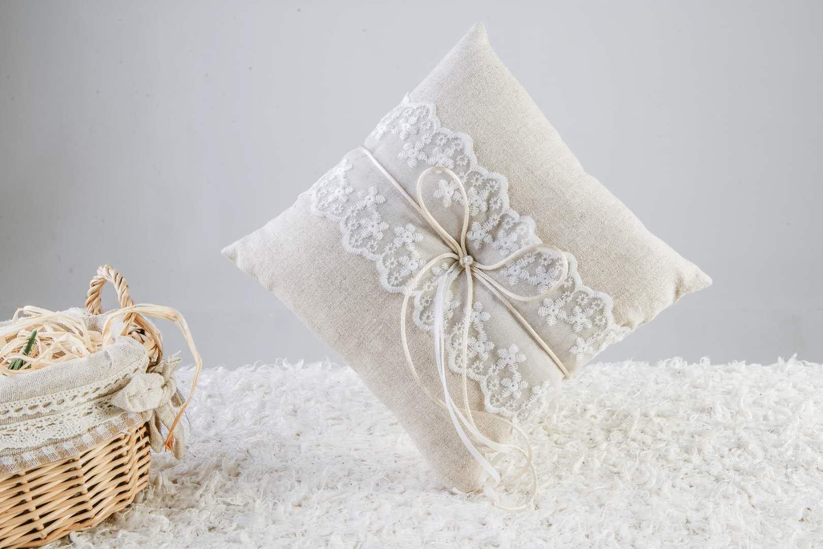 SCWEDDING Vintage Burlap Lace Bridal Wedding Ceremony Ring Bearer Pillow Cushion 21x21cm