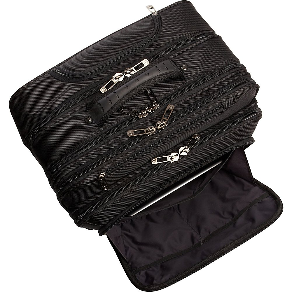 Heritage Travelware Streeterville 1680d Polyester Triple Compartment Top Zip Laptop Portfolio Overnighter, Black