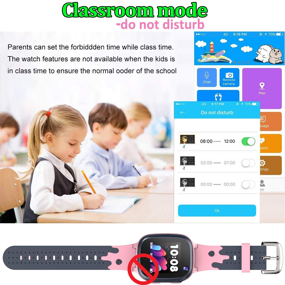 MiKin Children Smart Watches for Girls Boys Age 3-12 Kids Smartwatch Phone with GPS Tracker 2 Way Call SOS Remote Camera Touch Screen Alarm Clock Flashlight Voice Chat Gizmo Wrist Watch Android iOS by MiKin (Image #5)