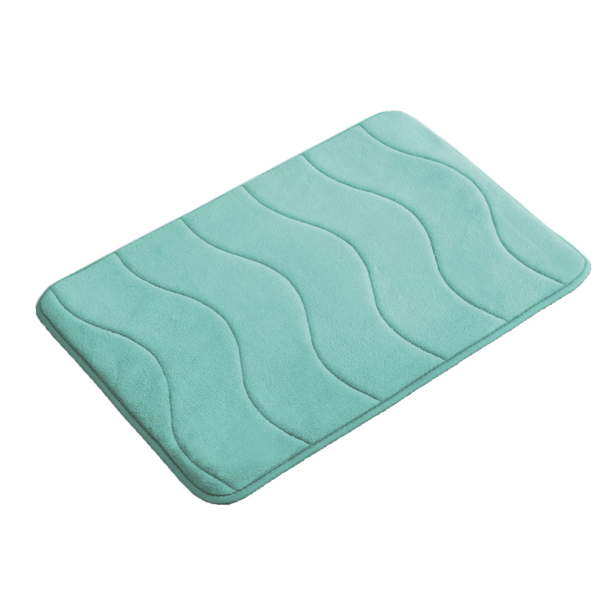 Premium Memory Foam 17x24 inch Absorbent Soft Microfibers of Bathroom Rug Non-Slip Bath Rugs - Aqua Green by Flamingo P (Image #1)