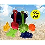 Sandkastenspielzeug Sandkasten Buddelzeug Buddelspielzeug Sandspielzeug spielstabil Set Strandspielzeug Set Sandspielzeug Eimergarnitur für Kinder/Jungen und Mädchen