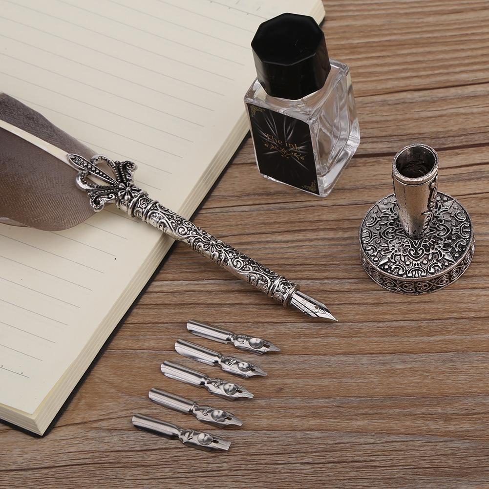 Pluma de la pluma Conjunto de pluma de pluma Juego de tinta de pluma de la pluma de la vendimia Conjunto de caligraf/ía antigua Escritura de pluma de pluma El mejor regalo ejecutivo antiguo Negro