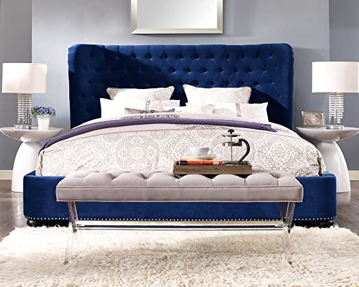 TOV Furniture The Finley Collection Contemporary Style Velvet Upholstered Button Tufted Wingback Bed