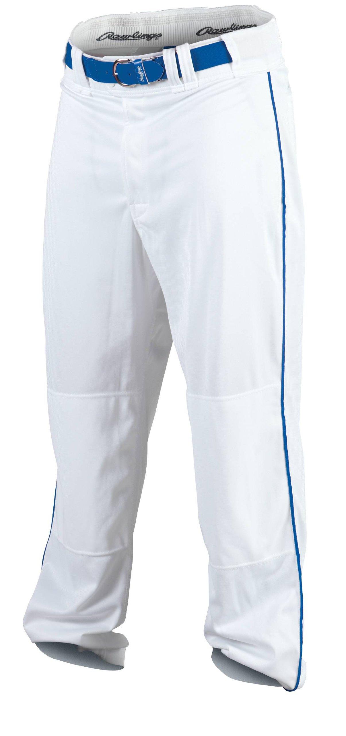 Rawlings Men's Baseball Pant (White/Royal, X-Large) by Rawlings