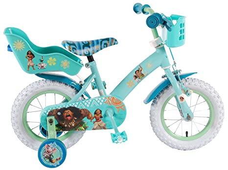 Bici Bicicletta Bambina 12 Pollici Disney Oceania Vaiana Con Ruotine Cestino E Portabambole Verde Menta 95 Assemblata