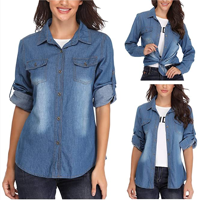 68159826f2c Jean Shirts for Women Button Up Long Sleeve Lightweight Washed Denim Shirt  Tops Dark Blue. Roll over image to zoom in. MISS MOLY