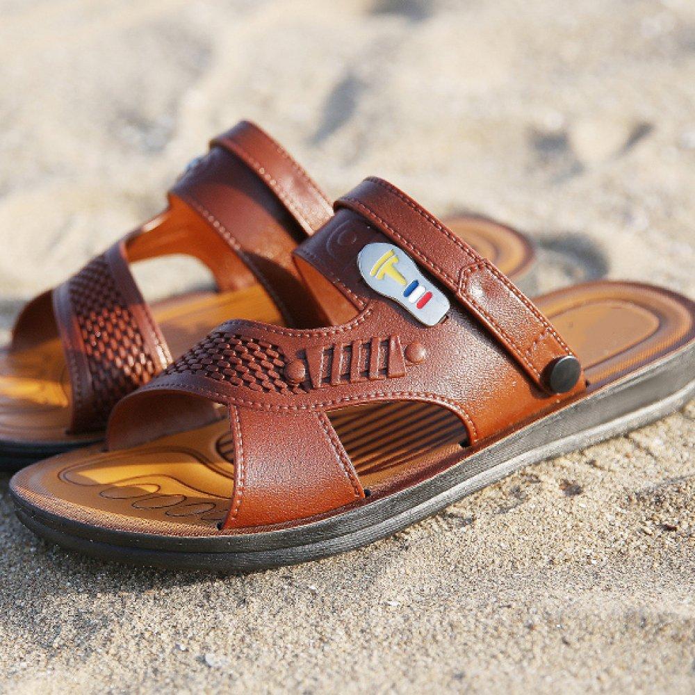 Snfgoij Männer Sandalen Einstellbare Outdoor Sports Bequeme Toe Strand Schuhe Sommer Open Toe Bequeme Echtes Leder Soft Bottom Rutschfest Braun e39381