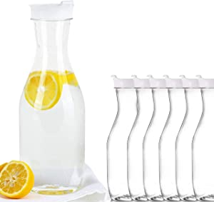 Party Bargains Clear Plastic Pitcher | Premium Quality & Heavy Duty Water Containers | Excellent for Iced Tea, Powdered Juice, Cold Brew, Mimosa Bar, More | 50 Oz. (6)