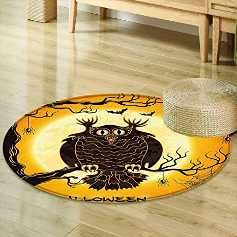 Mikihome Dining Room Home Bedroom Carpet Halloween Decorations Collection Spooky Owl On Tree Branch Surrounded By