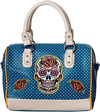 Banned Dia De Muertos Polka Dot Sugar Skull Handbag Bag Gothic Rockabilly Tattoo