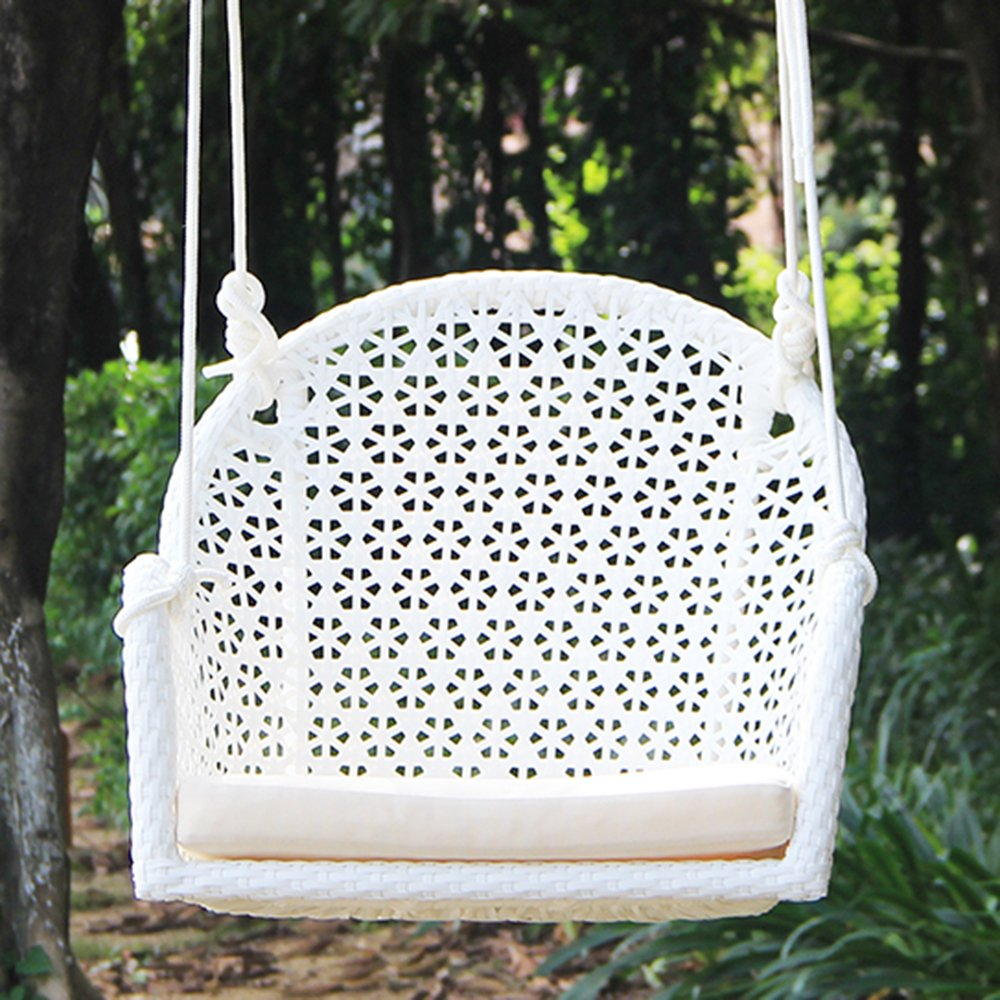 Pack of 2 Wicker Porch Swing Chair for Children or Adult, Hanging Rope Chair Swing Seat, Indoor and Outdoor Playground Swing Set Accessories, UV Resistant (White)