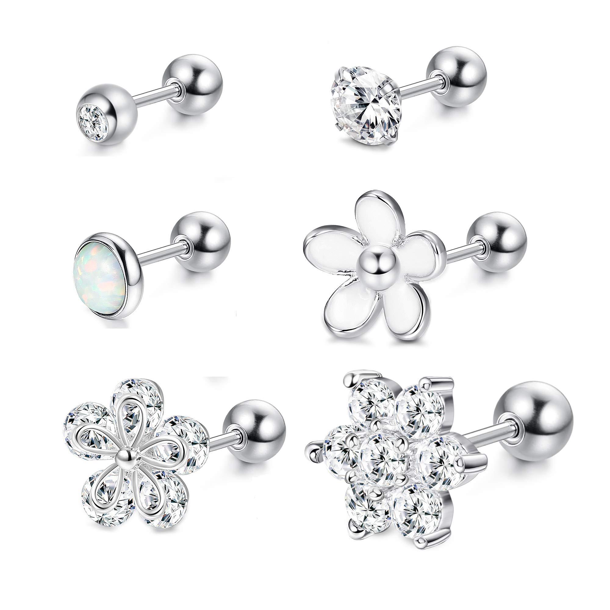 LOYALLOOK 4-6Pcs CZ Barbell Helix Piecing Cartilage Earring Stainless Steel Nose Lip Studs Opal Tragus Body Piercing Jewelry 16G by LOYALLOOK