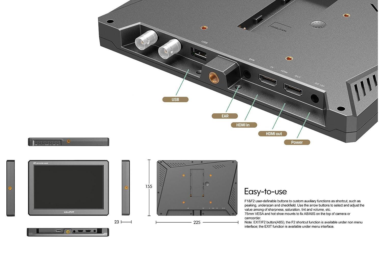 Lilliput A8 3D-LUT 8.9 pouce 1920x1200 Cam/éra Field Moniteur de Diffusion avec Sortie HDMI 4K Cam/éscope DSLR A7 A7R A7S III A9 Panasonic GH5 GH5s