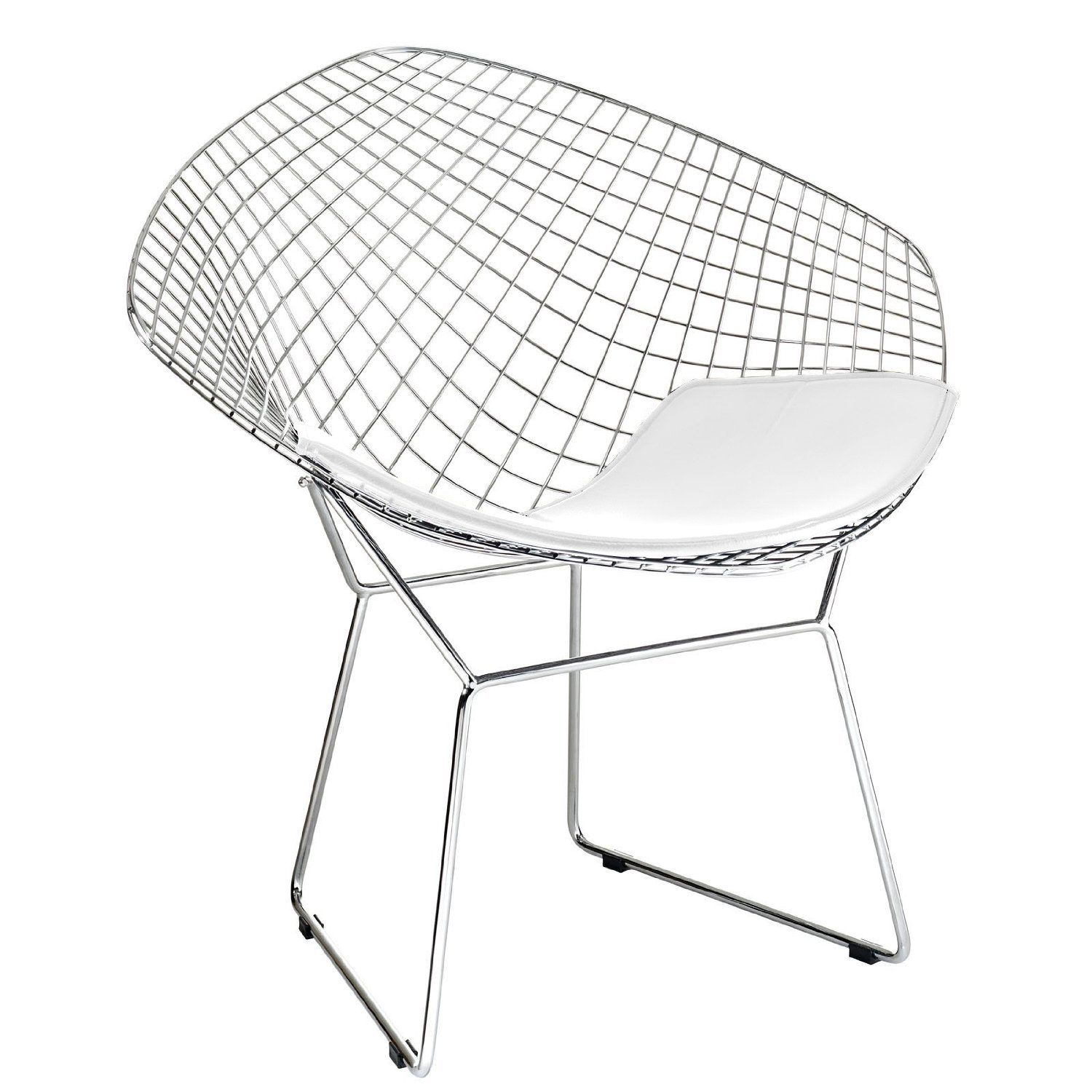 Bertoia Style Diamond Chair in Chrome Finish with White Seat Pad High Quality