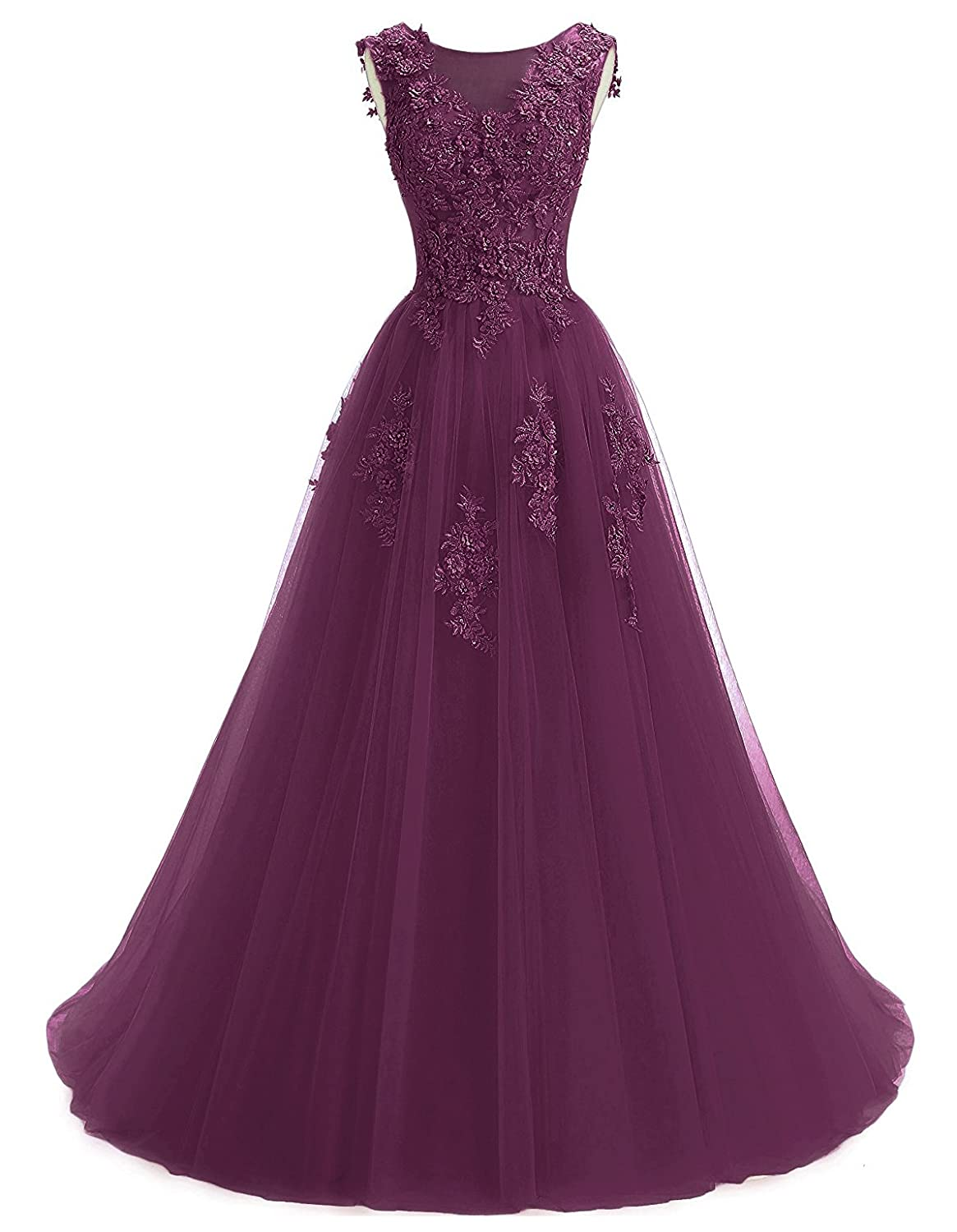 Grape Annxpink Women's Long Sheer Scoop Neck Beaded Pearls Flowers Tulle ALine Prom Gown Formal Evening Dress