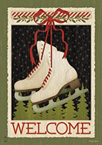 "Briarwood Lane Winter Ice Skates Garden Flag Primitive Welcome 12.5"" x 18"""