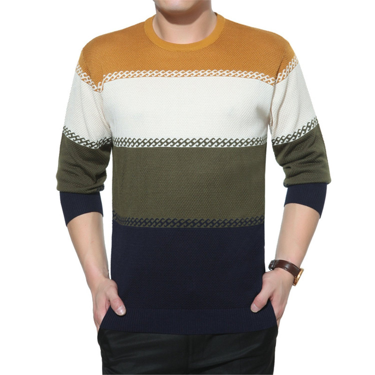 LOKOUO Handsome and Silm Sweater Men Nice Spring Mens Sweaters O Neck  Casual Long-sleeved Sweater Men Slim Fit Cotton Patchwork Pullovers Knitted  Sweater ca6fa6ac0