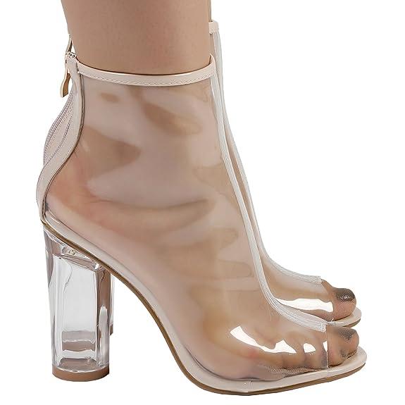 de0136a7800 Feet First Fashion Aisha Womens High Block Heel Clear Perspex Peep Toe  Ankle Boots
