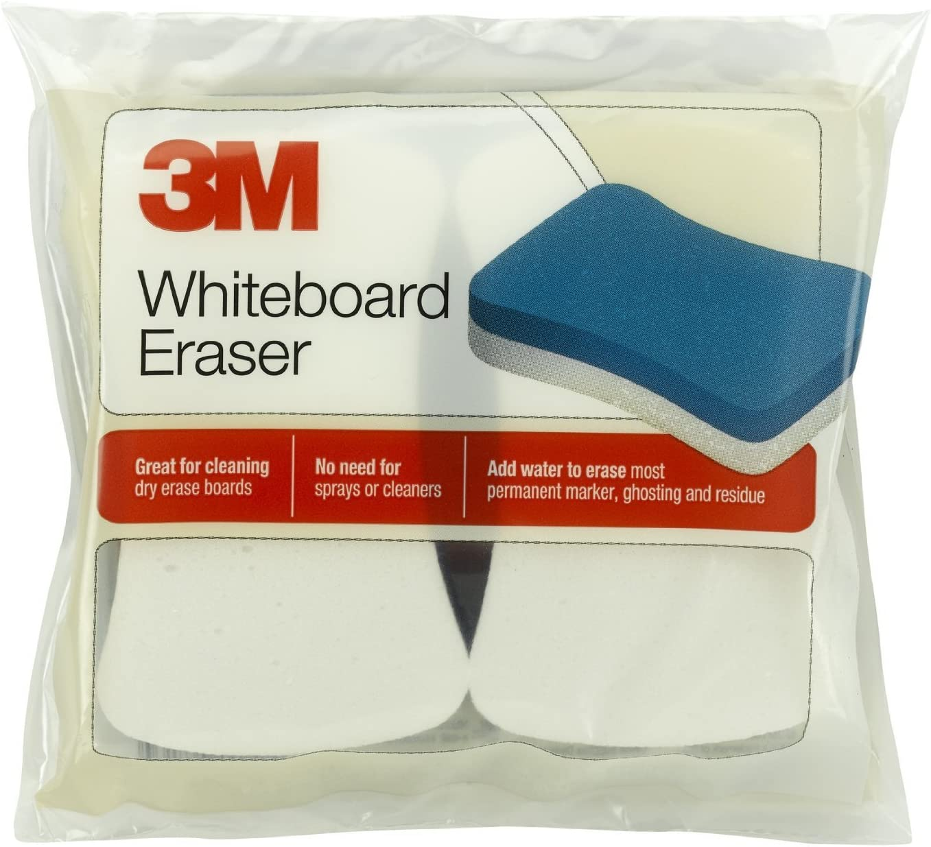 3M 581WBE Whiteboard Eraser Pads, 5-Inch x3-Inch, 2/PK, White/Blue