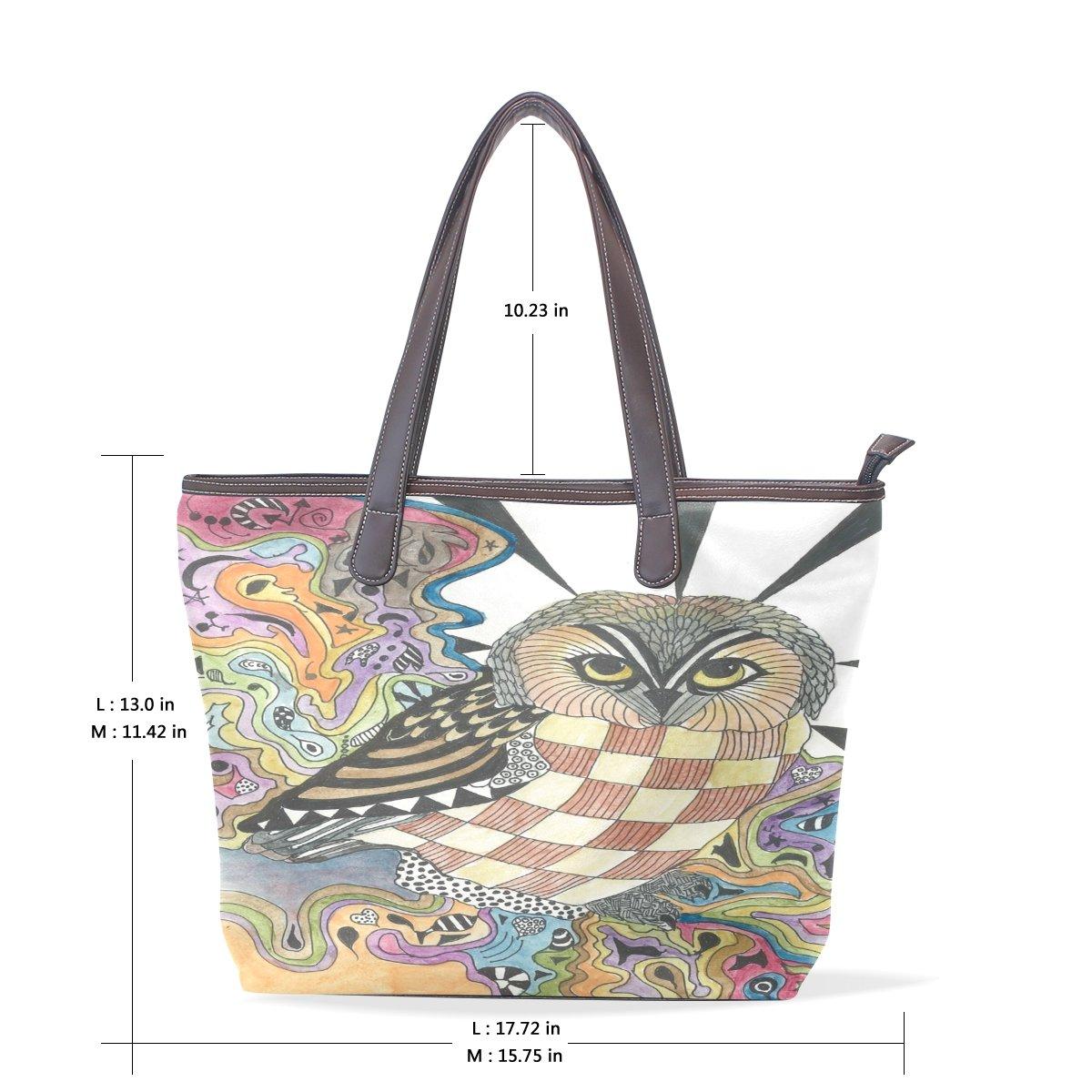 Ye Store Watercolor Owl Lady PU Leather Handbag Tote Bag Shoulder Bag Shopping Bag