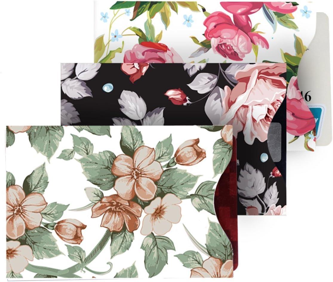 Newcare RFID Blockierh/ülsen 5 Kreditkarte und 1-Pass-Halter-Schutz-Sleeves Anti-Diebstahl-Travel Case Set vertikale /Öffnung Floral