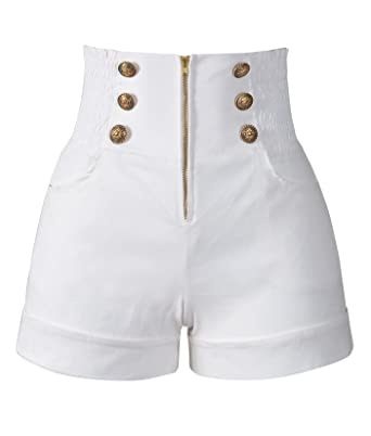 be719b029 Penelope Vintage Women's 50s Retro Rockabilly Style High Waist Pinup Shorts  at Amazon Women's Clothing store: