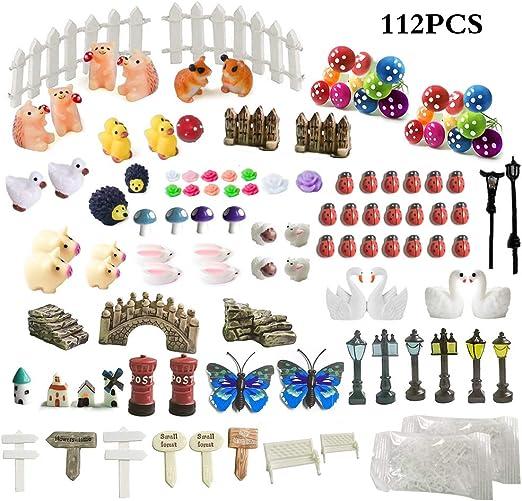 ZJW - Kit de adornos de hadas miniatura, accesorios de jardín, 112 piezas para decoración de hadas para jardín: Amazon.es: Jardín