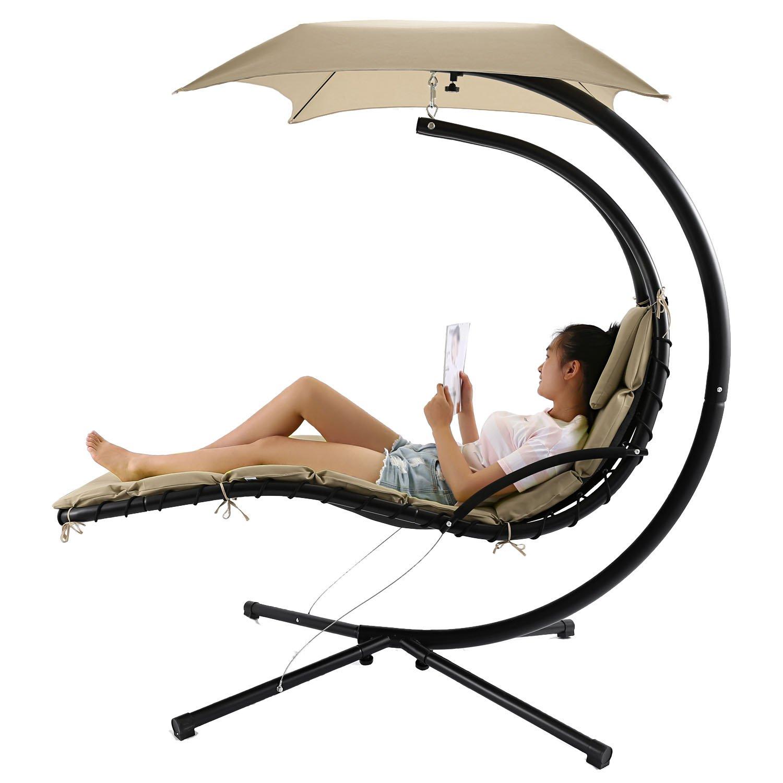 Tumbona de jardín Chaise, para colgar Swing hamaca con toldo, 350 lbs capacidad: Amazon.es: Jardín