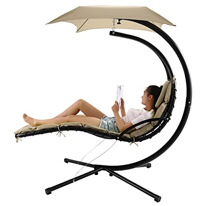 Swell Floating Hanging Chaise Lounger Chair Swing Hammock With Canopy 350Lbs Capacity Beige Home Remodeling Inspirations Propsscottssportslandcom