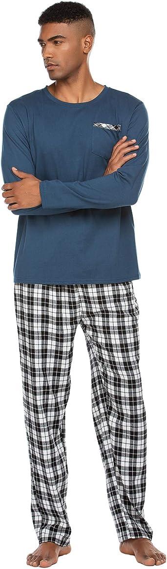 Pijama largo para hombre, pijama largo, ropa de noche, pantalones de dormir, camiseta de dormir con bolsillos, para hombre, otoño, invierno, casa, ...