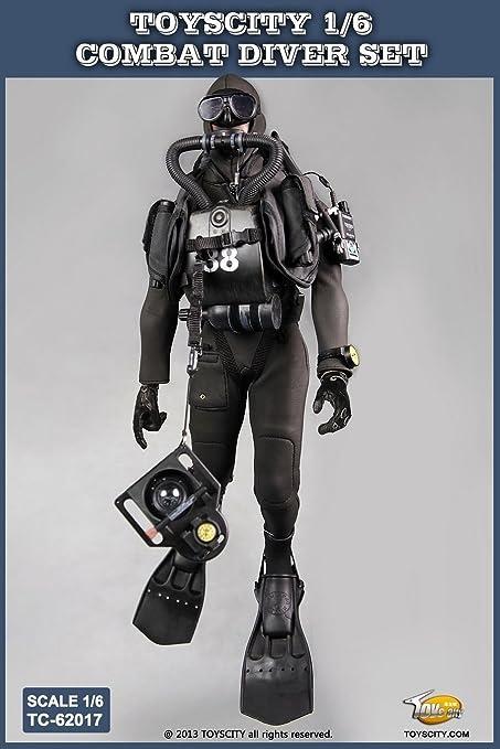 Amazon.com: 1: 6 Escala Diver Combat Frogman sello agua ...