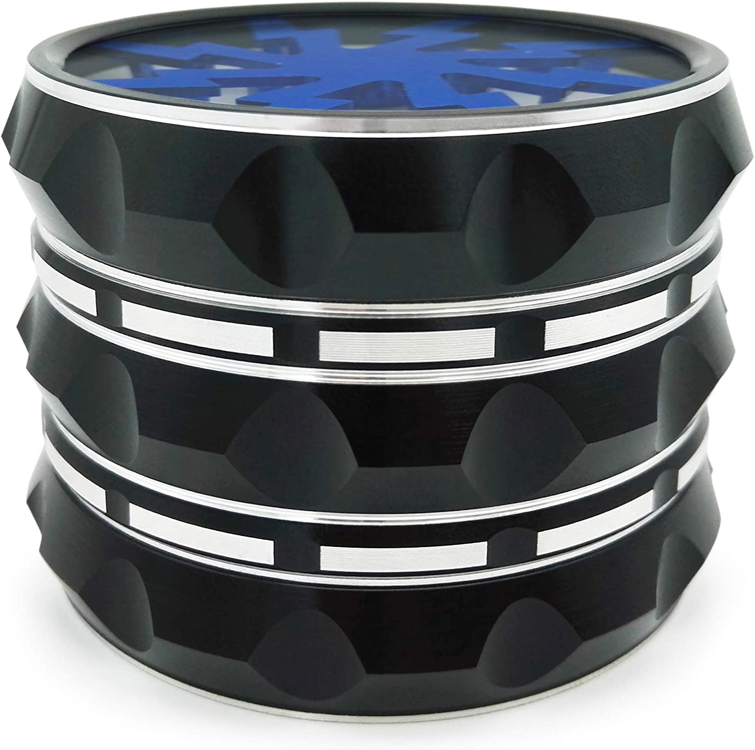 Quality Aluminium Herb Grinder By Fengli 2.5/'/' Large 4-part Spice Herb Grinder with Pollen Screen,Blue