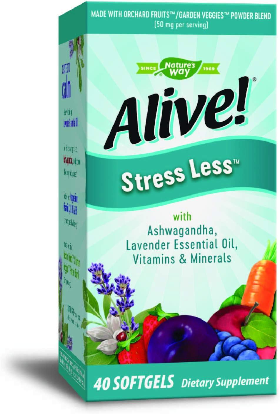 Nature's Way Alive! Stress Less Vitamin Supplement, Ashwagandha, Lavender Essential Oil, Vitamins C, D, B5, B6, 40 Count