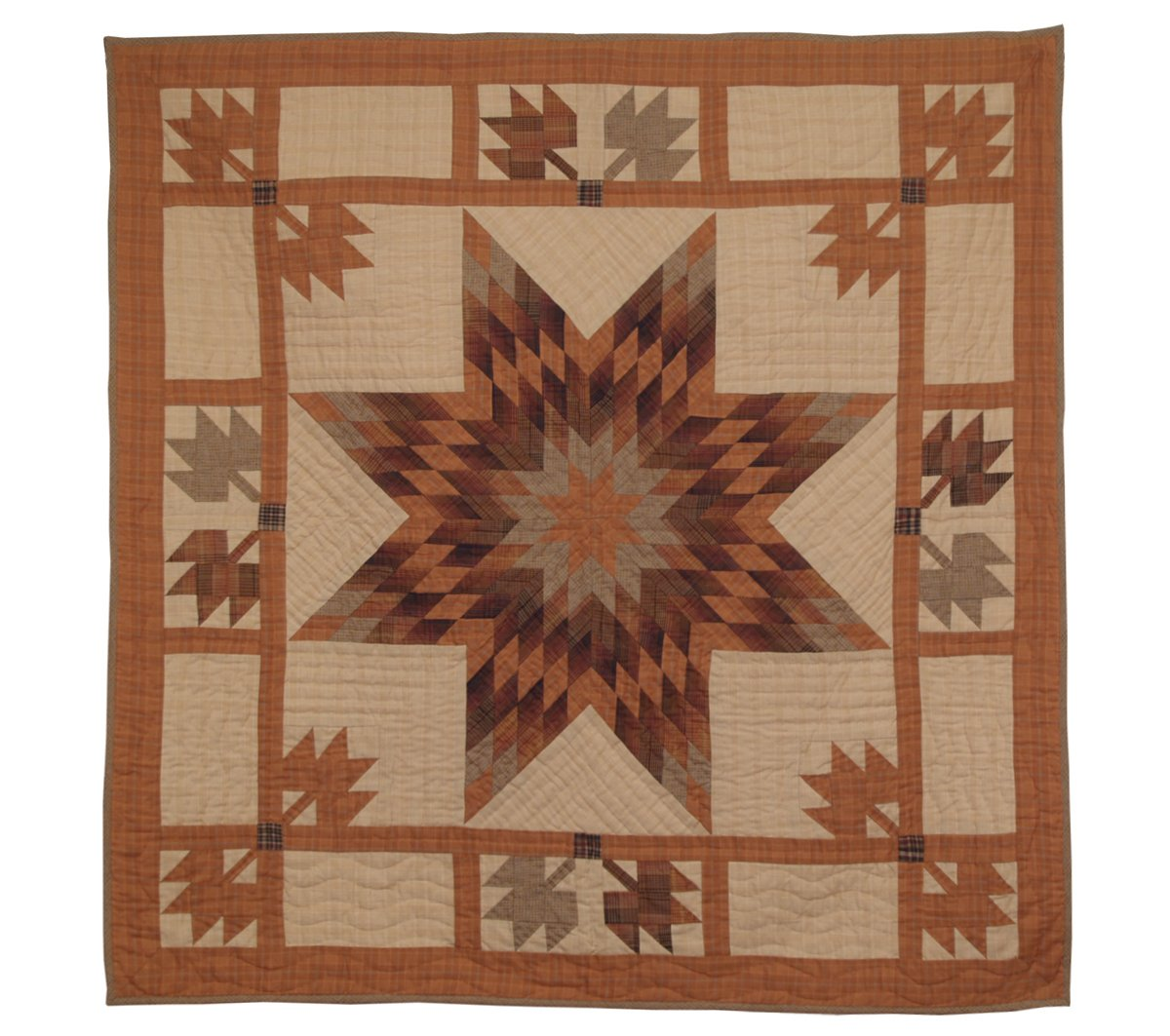 Autumn Splendor Wall Hanging Quilt 44 Inches by 44 Inches 100% Cotton Handmade Hand Quilted Heirloom Quality