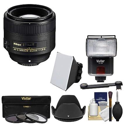 Nikon 85 mm f/1.8G AF-S NIKKOR Lente con 3 UV/CPL/ND8 filtros + ...