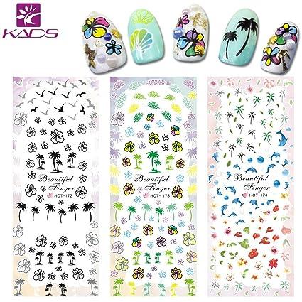 4 Hojas Surtido Pegatina Decoracion para las Uñas Decal DIY uñas herramienta de decoración arte adhesivos