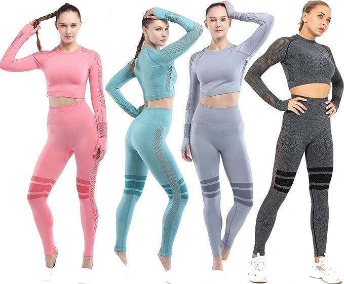 senza cuciture pantaloni a vita alta top da corsa a maniche lunghe C K CrisKat Set di abbigliamento sportivo da donna 2 pezzi per yoga e palestra