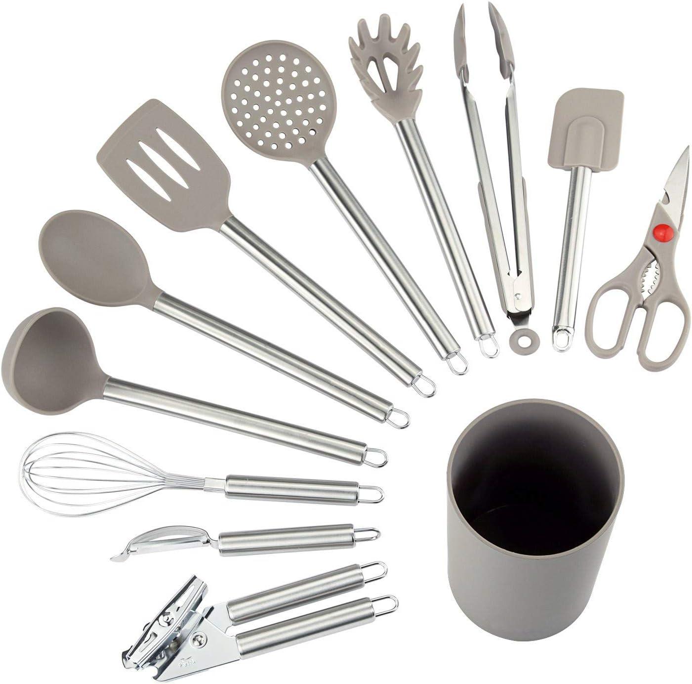 COMLIFE Utensilios de Cocina de 12 Piezas Antiadherentes Set-12 de Silicona y Acero Inoxidable, Incluye cucharas, batidor, abrelatas, pelador, raspador etc.