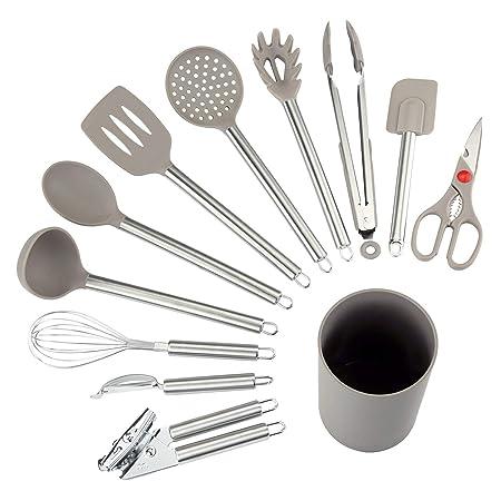 NEXGADGET Utensilios de Cocina de 12 Piezas Antiadherentes Set-12 de Silicona y Acero Inoxidable, Incluye cucharas, batidor, abrelatas, pelador, ...
