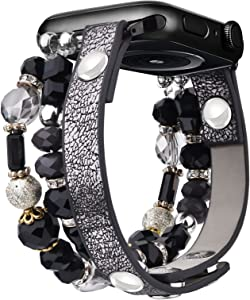 V-MORO Bracelet Compatible with Series 6 Apple Watch Bands 44mm 42mm Women Crystal Elastic Stretch Beaded with Bling Calf Leather Replacement for iWatch Series 5/4/3/2/1 42mm/44mm Black/Gold